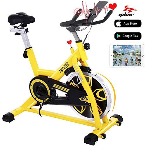 ANCHEER Heimtrainer Fahrrad Ergometer Testsieger, Indoor Cycling Fitnessbike, Stufenlose Widerstandseinstellung mit großes Trägheitsschwungrad Benutzergewicht bis 150kg